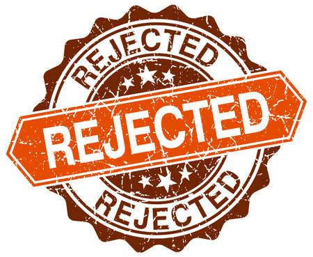 rejected orange round grunge stamp on white