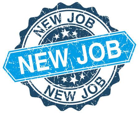 new job: new job blue round grunge stamp on white Illustration