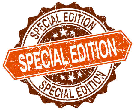 special edition: special edition orange round grunge stamp on white