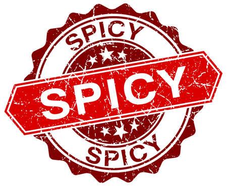 spicy: spicy red round grunge stamp on white Illustration