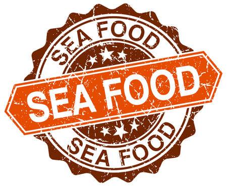 sea food: sea food orange round grunge stamp on white