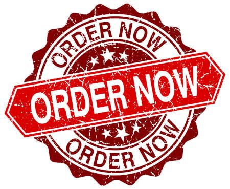 order now: order now red round grunge stamp on white Illustration