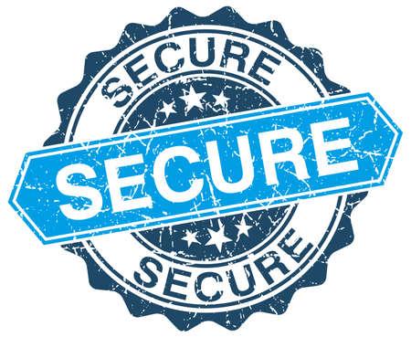 secure: secure blue round grunge stamp on white Illustration