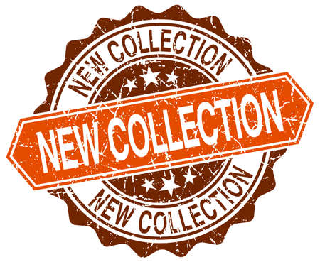 new collection: new collection orange round grunge stamp on white Illustration