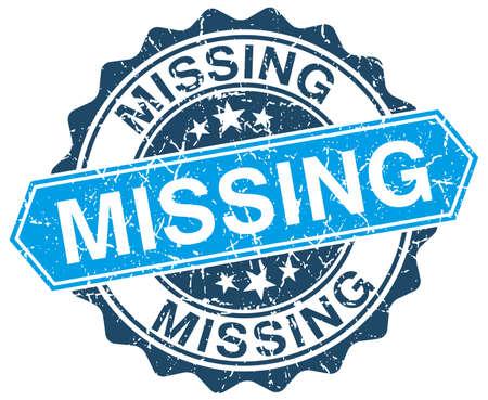 missing: missing blue round grunge stamp on white