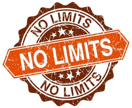 no limits: no limits orange round grunge stamp on white