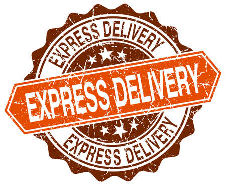 express delivery: express delivery orange round grunge stamp on white