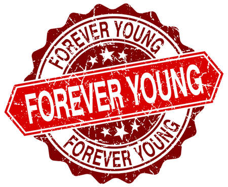forever: forever young red round grunge stamp on white