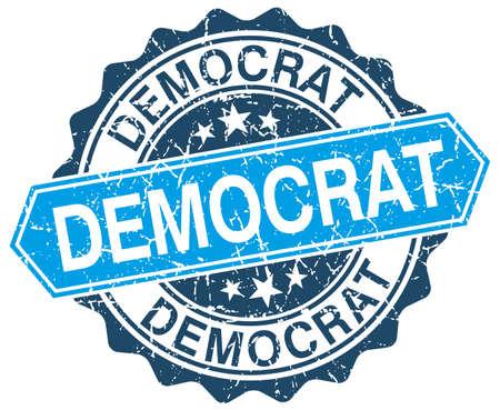 democrats: dem�crata azul del sello del grunge redonda sobre blanco