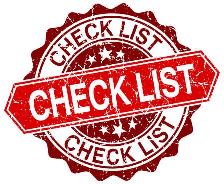 check list: check list red round grunge stamp on white