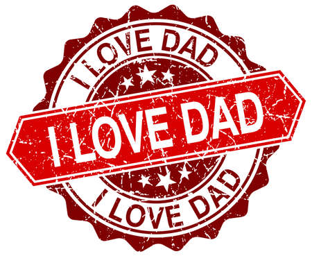 love stamp: i love dad red round grunge stamp on white
