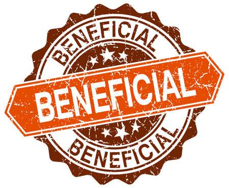 beneficial: beneficial orange round grunge stamp on white