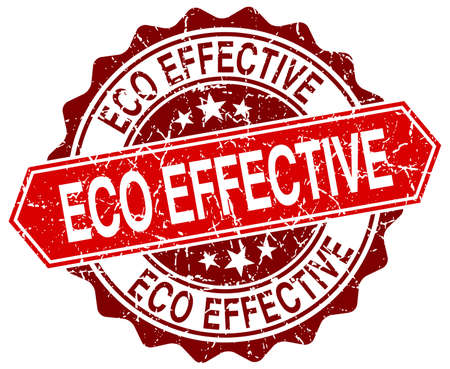 effective: eco effective red round grunge stamp on white
