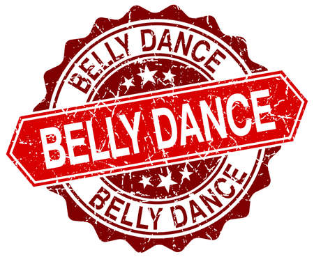 belly dance: belly dance red round grunge stamp on white