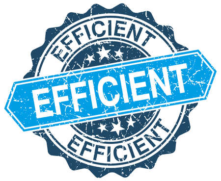 efficient: efficient blue round grunge stamp on white