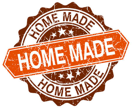 home made: home made orange round grunge stamp on white