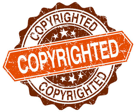 copyrighted: copyrighted orange round grunge stamp on white