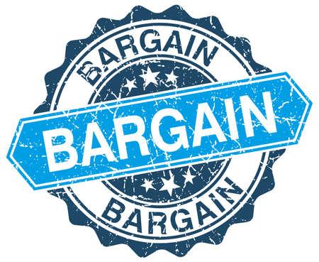 bargain: bargain blue round grunge stamp on white Illustration
