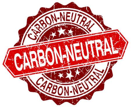 co2 neutral: carbon-neutral red round grunge stamp on white