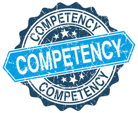 competency: competency blue round grunge stamp on white