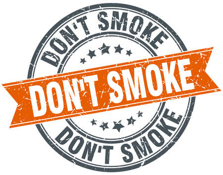 dont: dont smoke round orange grungy vintage isolated stamp
