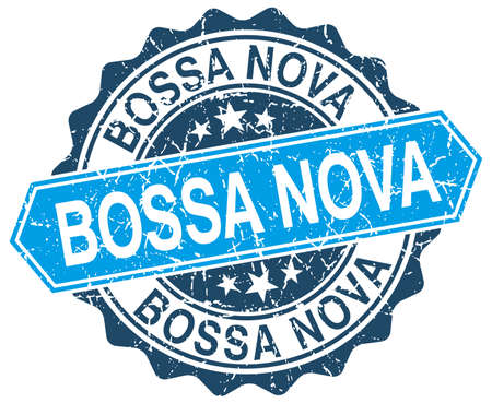 nova: bossa nova blue round grunge stamp on white