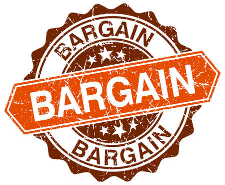 bargain: bargain orange round grunge stamp on white Illustration