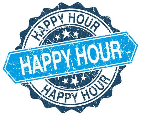 hour: happy hour blue round grunge stamp on white