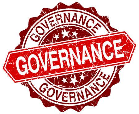 governance: governance red round grunge stamp on white