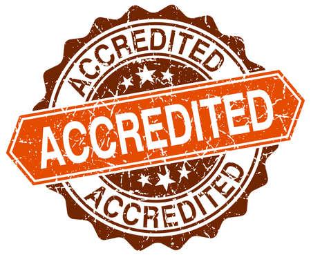 accredited: accredited orange round grunge stamp on white