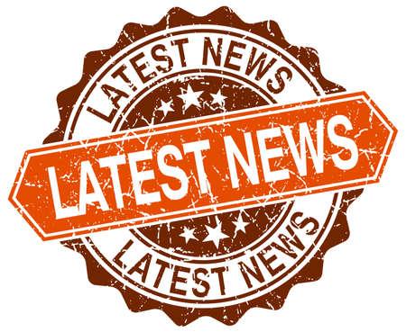 latest news orange round grunge stamp on white