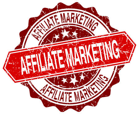 affiliate: affiliate marketing red round grunge stamp on white