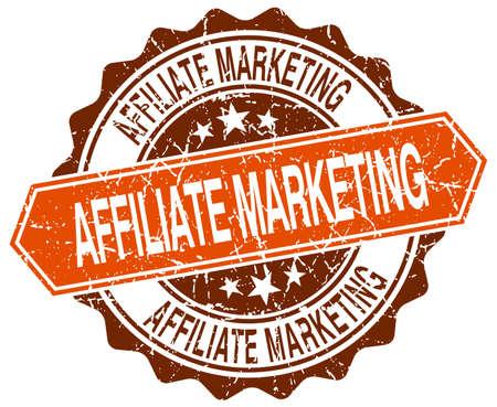 affiliate marketing: affiliate marketing orange round grunge stamp on white