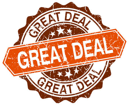 great deal: great deal orange round grunge stamp on white