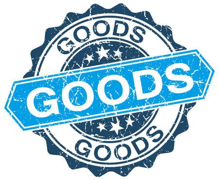 white goods: goods blue round grunge stamp on white
