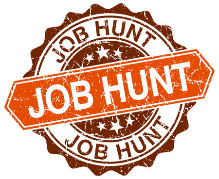 job hunt: job hunt orange round grunge stamp on white Illustration