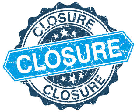 closure: closure blue round grunge stamp on white