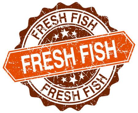 fresh fish: fresh fish orange round grunge stamp on white Illustration