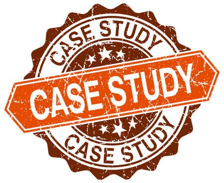 case study: case study orange round grunge stamp on white