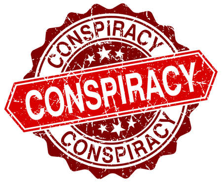 conspiracy: conspiracy red round grunge stamp on white