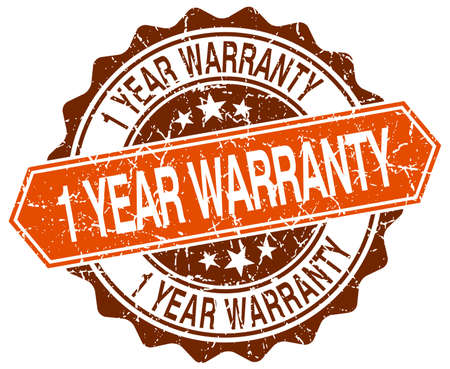1 year warranty: 1 year warranty orange round grunge stamp on white