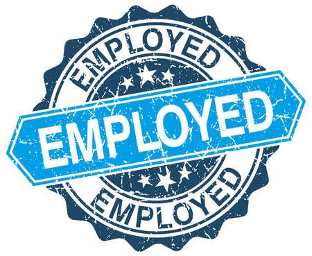 employed: employed blue round grunge stamp on white