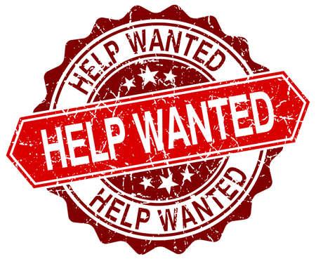 help wanted sign: ayuda quer�a rojo del sello del grunge redonda sobre blanco Vectores