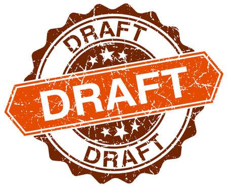 draft: draft orange round grunge stamp on white