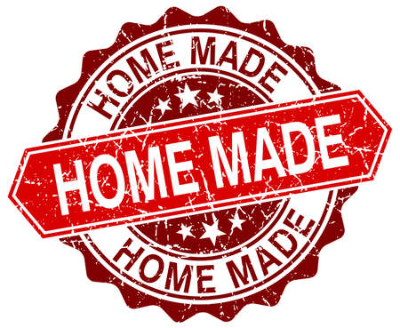 home made: home made red round grunge stamp on white