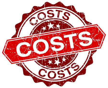 costs: costs red round grunge stamp on white