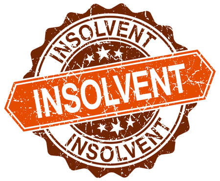 insolvent: insolvent orange round grunge stamp on white