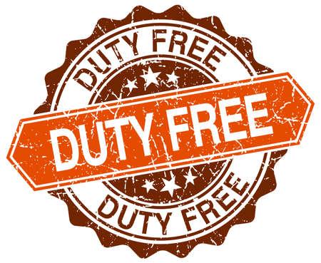 duty: duty free orange round grunge stamp on white Illustration