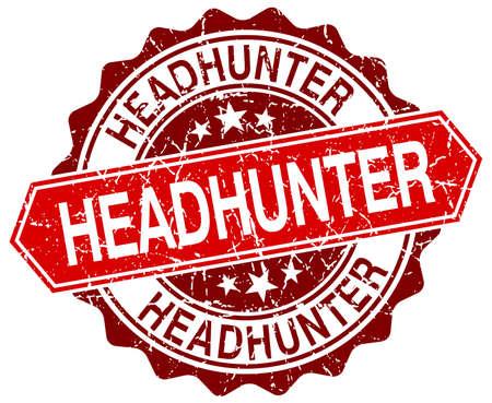 headhunter: headhunter red round grunge stamp on white