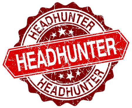 headhunter: headhunter rosso rotondo grunge timbro su bianco